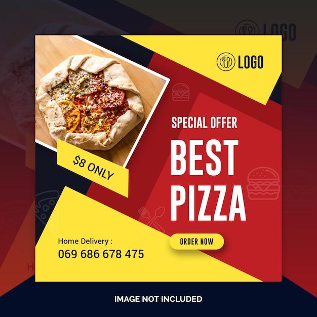Пицца ресторан instagram post, квадратный баннер Premium Psd