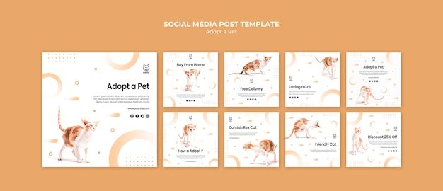 Instagram posts collection for adopting a pet Free Psd