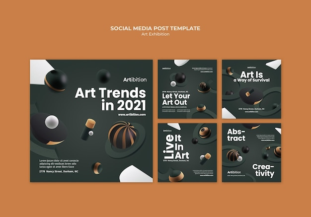 Instagram posts collection for art exhibition with geometric shapes Free Psd