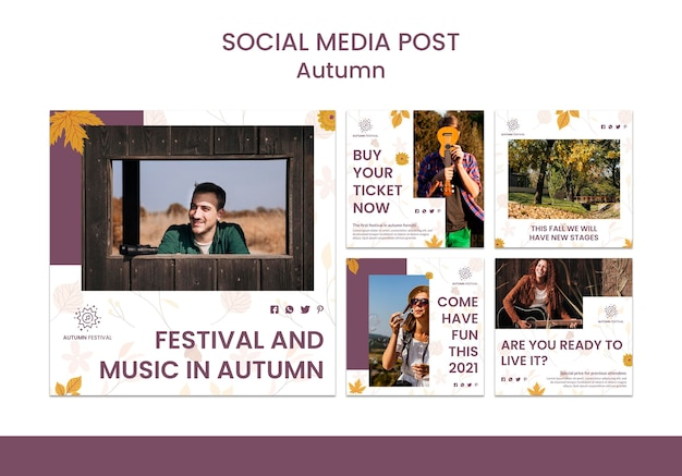 Instagram posts collection for autumn concert Free Psd