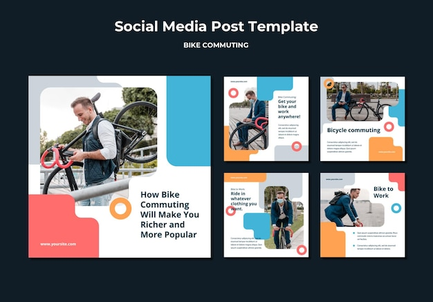 Instagram posts collection for bicycle commuting with male passenger Free Psd