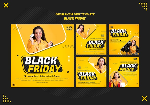 Instagram posts collection for black friday clearance Premium Psd