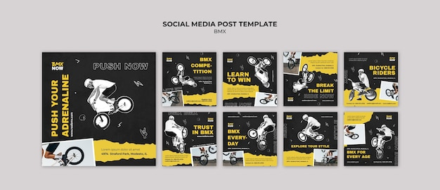 Instagram posts collection for bmx biking with man and bicycle Premium Psd