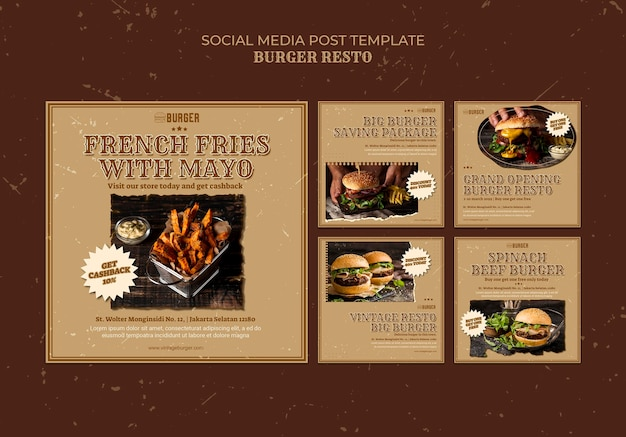 Instagram posts collection for burger restaurant Free Psd