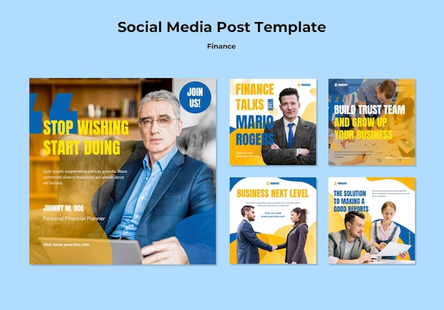 Instagram posts collection for business and finance seminar Free Psd