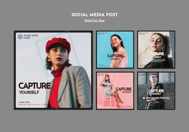 Instagram posts collection for capture yourself theme Free Psd