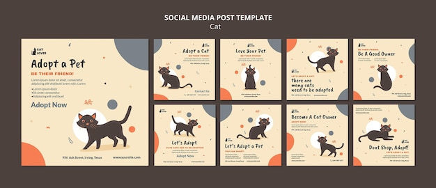 Instagram posts collection for cat adoption Premium Psd
