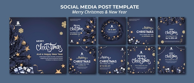 Instagram posts collection for christmas and new year Premium Psd