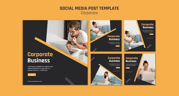Instagram posts collection for corporate business Free Psd