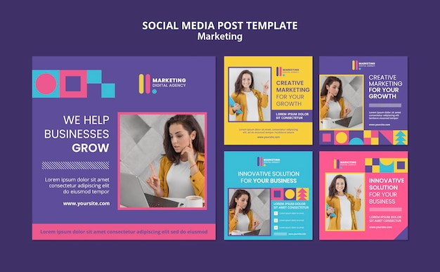 Instagram posts collection for creative marketing agency Free Psd
