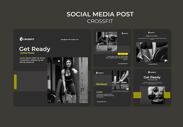 Instagram posts collection for crossfit exercise Free Psd