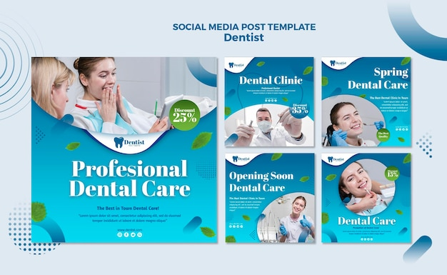 Instagram posts collection for dental care Premium Psd