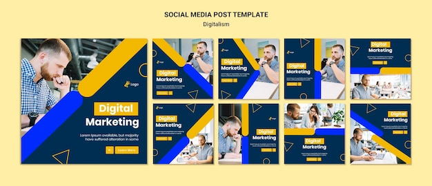 Instagram posts collection for digital marketing Free Psd