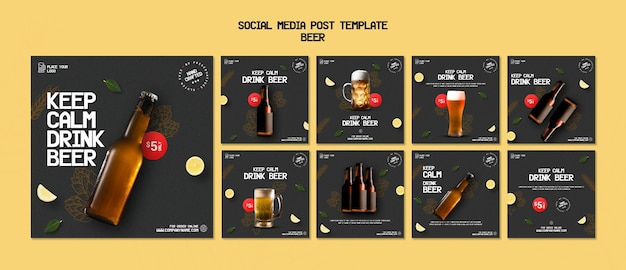 Instagram posts collection for drinking beer Premium Psd