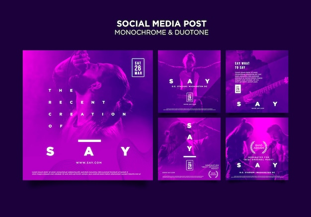 Instagram posts collection in duotone with musicians in concert Free Psd