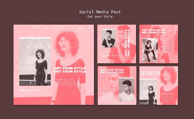 Instagram posts collection for electronic style magazine Free Psd