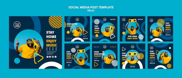 Instagram posts collection for enjoying music during quarantine Free Psd