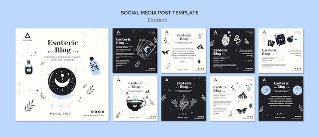 Instagram posts collection for esoteric blog Premium Psd