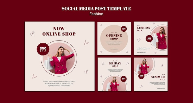 Instagram posts collection for fashion sale with woman and shopping bags Free Psd