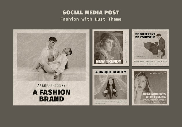 Instagram posts collection for fashion store Free Psd