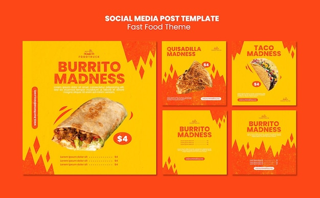 Instagram posts collection for fast food restaurant Free Psd