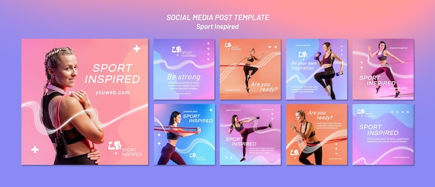 Instagram posts collection for fitness training Premium Psd