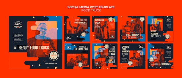 Instagram posts collection for food truck business Premium Psd