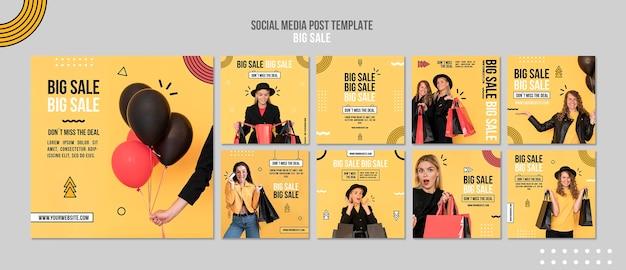 큰 판매를위한 Instagram 게시물 모음 프리미엄 PSD 파일