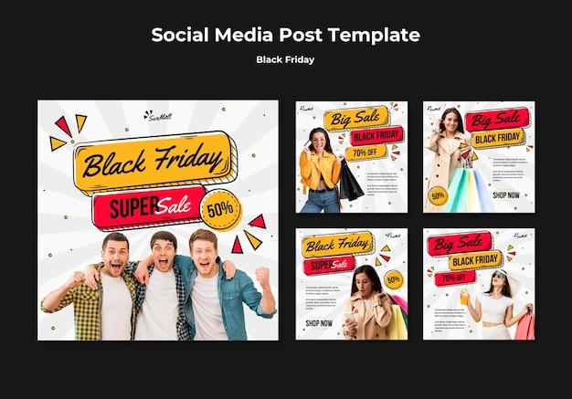 Коллекция постов в instagram для распродажи черной пятницы Premium Psd