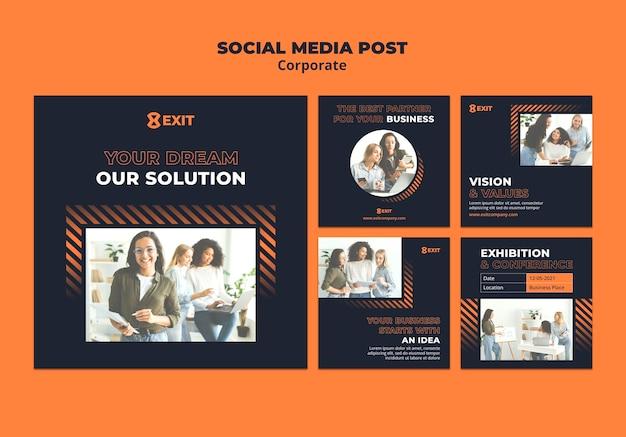 Коллекция постов в инстаграм для бизнес-корпорации Бесплатные Psd