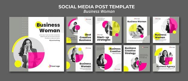 Коллекция постов в instagram для бизнесвумен Premium Psd