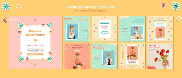 Коллекция постов в инстаграм для детей с цветами Premium Psd