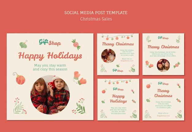 子供とのクリスマスセールのためのinstagramの投稿コレクション 無料 Psd