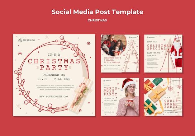 クリスマスセールのためのinstagramの投稿コレクション Premium Psd