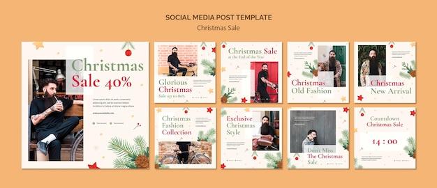 Коллекция постов в instagram для рождественской распродажи Premium Psd