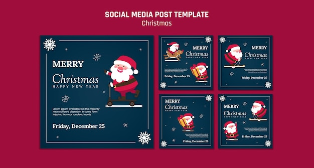 Коллекция постов в instagram на рождество с дедом морозом Premium Psd