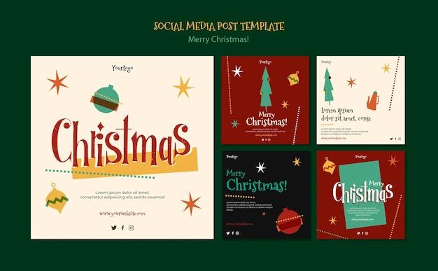 Коллекция постов в инстаграм на рождество Premium Psd