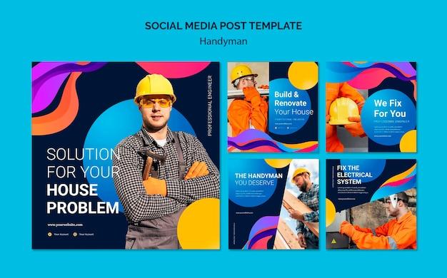 핸디맨 서비스를 제공하는 회사의 instagram 게시물 모음 무료 PSD 파일