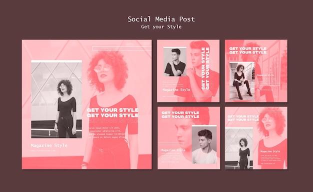 전자 스타일 잡지에 대한 instagram 게시물 모음 무료 PSD 파일