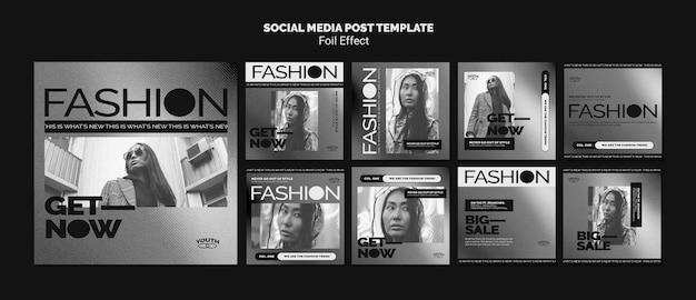 호일 효과가 적용된 패션을위한 Instagram 게시물 모음 프리미엄 PSD 파일
