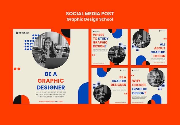 Коллекция постов в инстаграм для школы графического дизайна Бесплатные Psd
