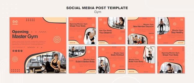 Коллекция постов в instagram для занятий в спортзале Premium Psd
