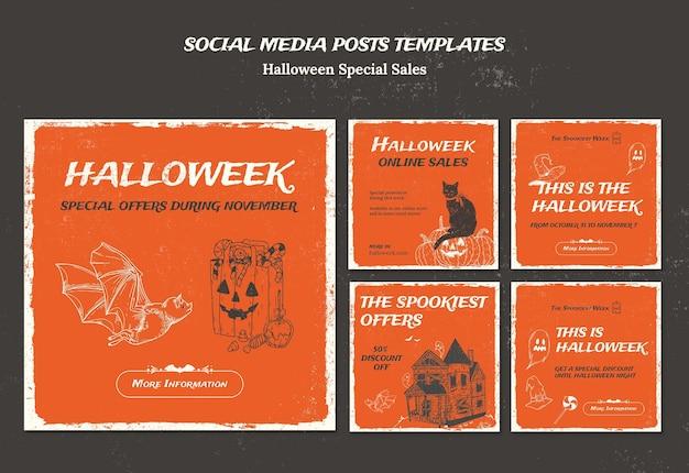 Коллекция постов в instagram для halloweek Бесплатные Psd
