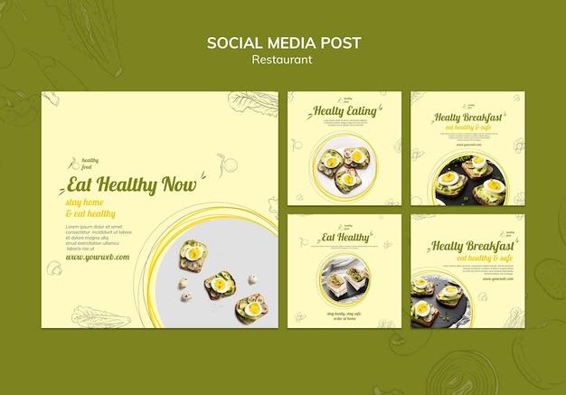 Коллекция постов в инстаграм для здорового завтрака с бутербродами Бесплатные Psd