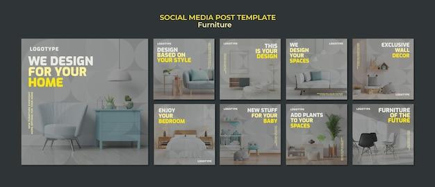 인테리어 디자인 회사의 Instagram 게시물 모음 프리미엄 PSD 파일