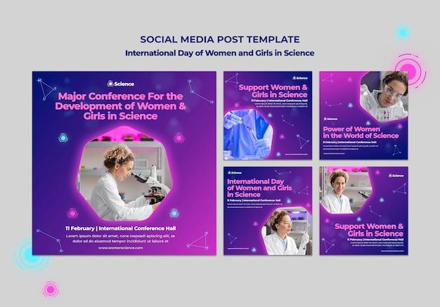 Instagramは、女性科学者との科学の祭典での女性と少女の国際デーのコレクションを投稿します 無料 Psd