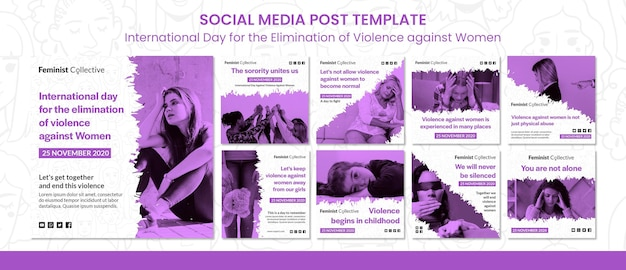 여성 폭력 근절을위한 인터내셔널 데이를위한 인스 타 그램 게시물 모음 무료 PSD 파일