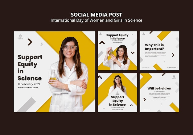 Коллекция постов в instagram для международного дня женщин и девушек в день науки Бесплатные Psd