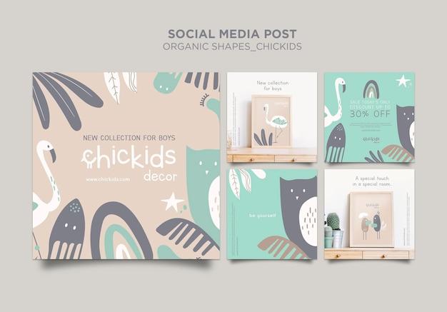 Коллекция постов в instagram для магазина детского декора Бесплатные Psd