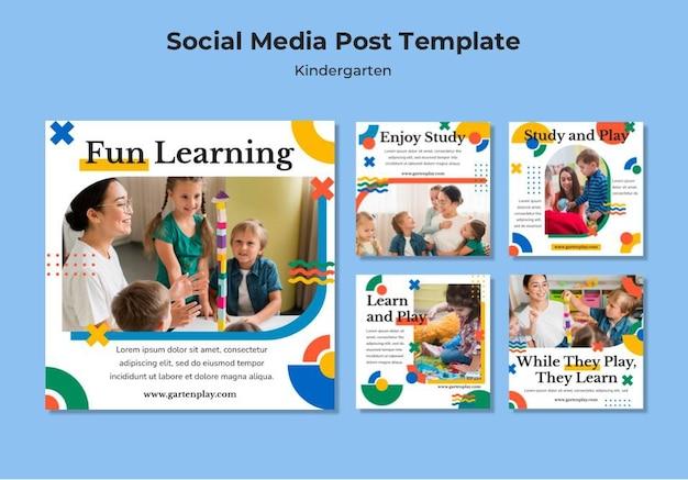 아이들과 함께하는 유치원을위한 instagram 게시물 모음 무료 PSD 파일